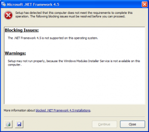 windows xp framework 4.5 not supported