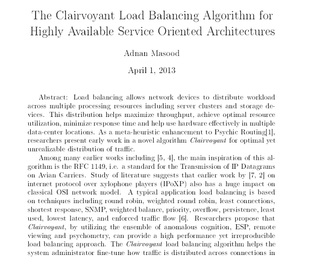Clairvoyant Load Balancing Algorithm