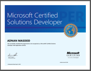 Adnan Masood Microsoft Certified Solution Developer 2